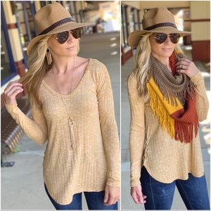 Mustard ribbed side lace up tunic